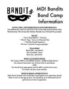 Bandit Band Camp Info